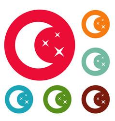 moon night icons circle set vector image