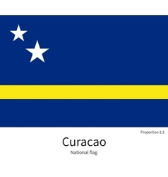 National flag of curacao with correct proportions vector