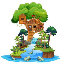 Old wooden tree house on island vector