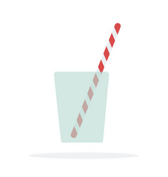 one cocktail straws in a glass flat isolated vector image