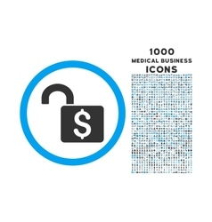Open Banking Lock Rounded Symbol With 1000 Icons vector