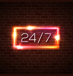 Open time 24 7 hours neon light sign on brick wall vector