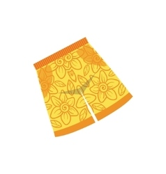 Pair Of Yellow Swimshorts With Floral Motive vector