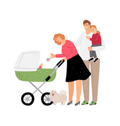 parents with kids walking vector image