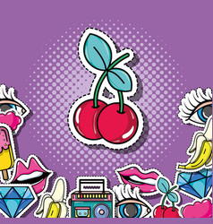Pop art cherry with patches background design vector