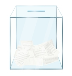 Realistic modern glass transparent ballot box with vector image