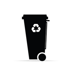 Recycle trashcan in black color vector