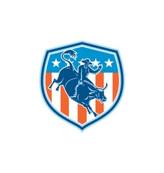 Rodeo Cowboy Bull Riding Flag Shield Retro vector