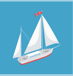 Sail boat with white canvas sailing icon vector