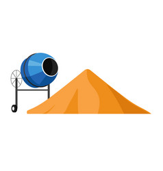 Sand pile and cement mixer isolated icon vector