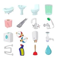 Sanitary engineering cartoon icons vector image
