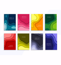 Set 8 backgrounds with colorful paper cut vector