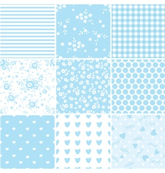 set abstract blue seamless patterns 2 vector image
