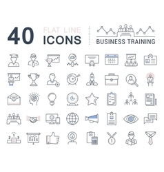 Set Flat Line Icons Business Training vector image