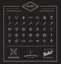 set of bakery pastry elements and bread icons can vector image