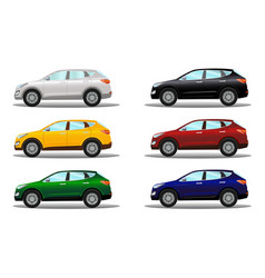 Set of crossover vehicles in a variety of colors vector
