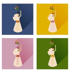 Set of flat icons with long shadow bride bouquet vector
