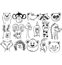 Set Of Funny Sketch Animal Face Icons vector