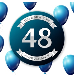 Silver number forty eight years anniversary vector