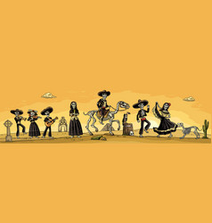 skeleton mexican costumes dance and play vector image