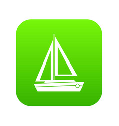 small boat icon digital green vector image