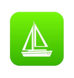 Small boat icon digital green vector