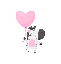 smiling zebra with pink heart-shaped balloon vector image