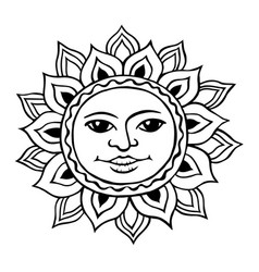 stylized sun with a womans face vector image