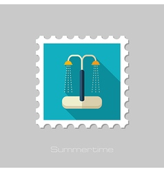 Summer beach pool shower flat stamp Vacation vector