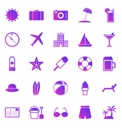 summer gradient icons on white background vector image