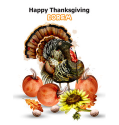 thanksgiving day card turkey and pumpkins vector image