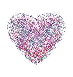 the heart of the colorful lines markers vector image
