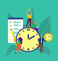 Time management concept art group people vector
