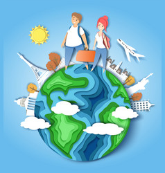 Travel around world paper cut vector