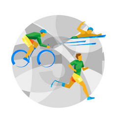 Triathlon for physically disabled people vector