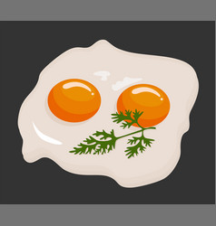 two fried eggs in a frying pan cooked for vector image