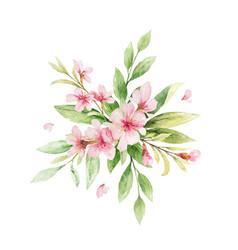 Watercolor wreath pink flowers vector
