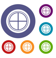 white round window icons set vector image