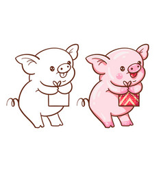 winter with cute cartoon pig vector image