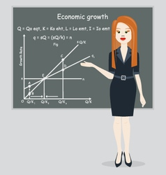 business woman presentation economic growth vector image