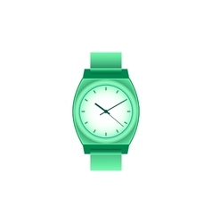 Green wrist Watch on white field vector image vector image