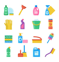 household tools for cleaning and washing icon set vector image