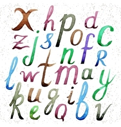 Watercolor alphabet Hand drawn letters vector image