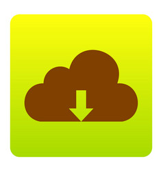 cloud technology sign brown icon at green vector image vector image