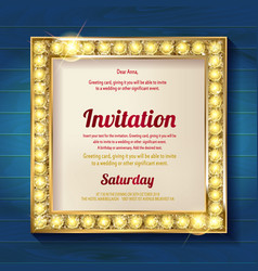 gold frame on wooden background vector image