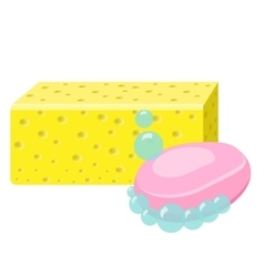 Soap Sponge And Foam Bubbles Cleaning supplies vector image