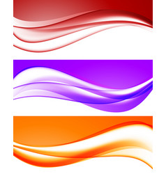 abstract bright waves collection vector image vector image