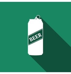 Beer Can Icon with long shadow vector image vector image