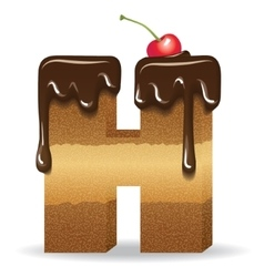 Cake letter H- birthday font vector image vector image