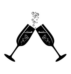champagne celebratory glasses vector image vector image
